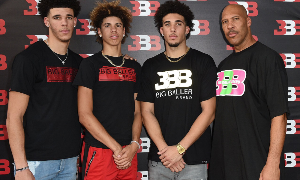 CHINO, CA - SEPTEMBER 02:  (L-R) Lonzo Ball, LaMelo Ball, LiAngelo Ball and LaVar Ball attend Melo Ball's 16th Birthday on September 2, 2017 in Chino, California.  (Photo by Joshua Blanchard/Getty Images for Crosswalk Productions )