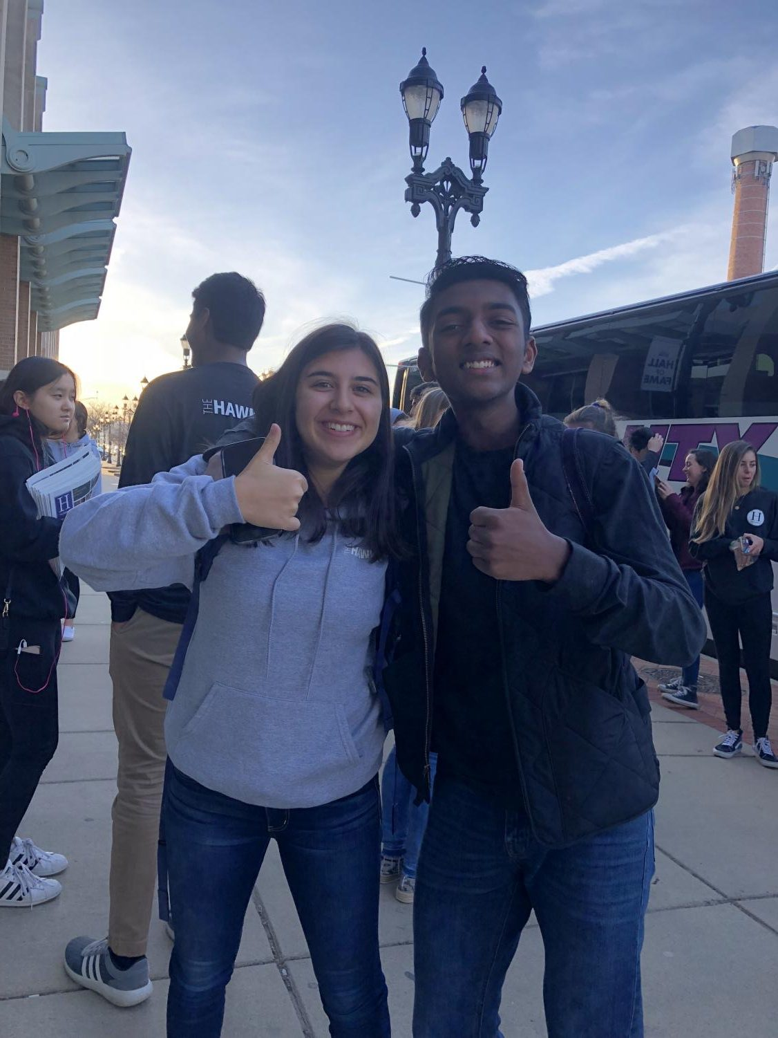 Senior Brynn Elder and Junior Vikram Lakshamnan pose at the MIPA Conference