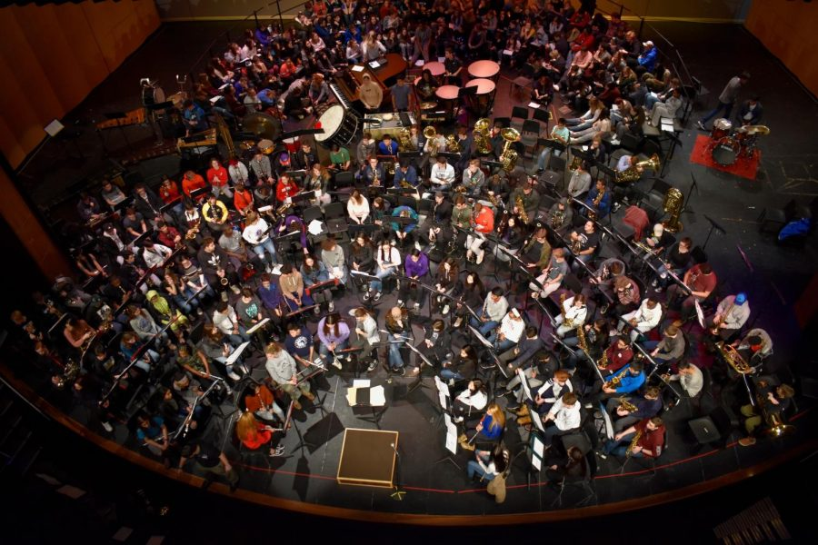 Aerial view of the band.
