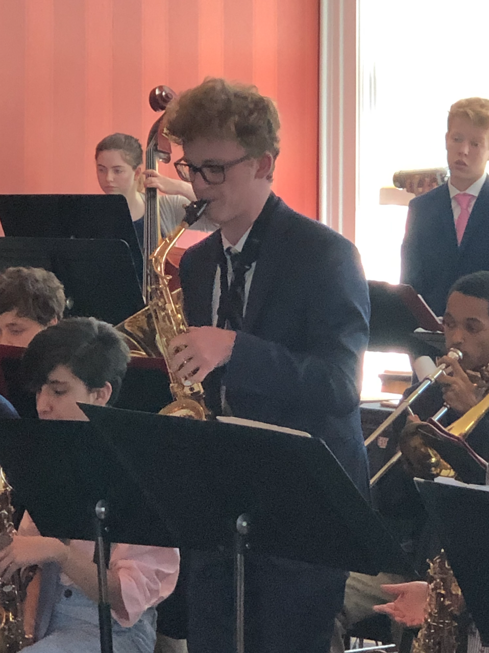 Senior+Charles+Dickson+soloing+in+his+final+Jazz+Band+concert+at+the+Hastings+Michigan+Jazz+Festival.+He+performed+with+the+Jazz+Lab+Band+playing+the+tune+Caravan+by+Duke+Ellington.+Charles+also+went+on+to+be+nominated+for+an+honorable+mention+in+the+Michigan+Youth+Arts+Festival+Jazz+Band+top+group.