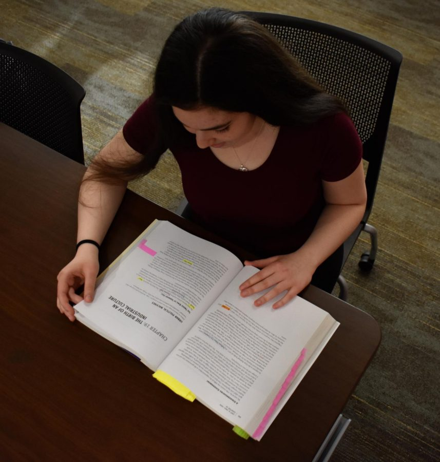 Sophomore Cassie Milch studying for her first AP Exam.
