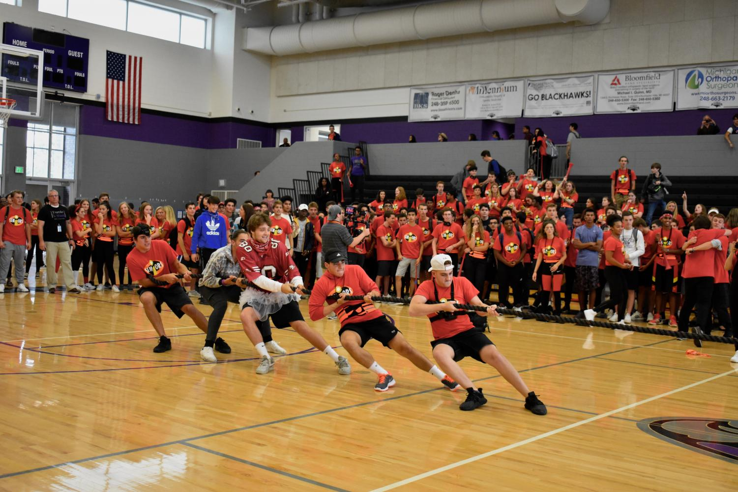 Seniors participate in tug of war, one of the events of the Games.
