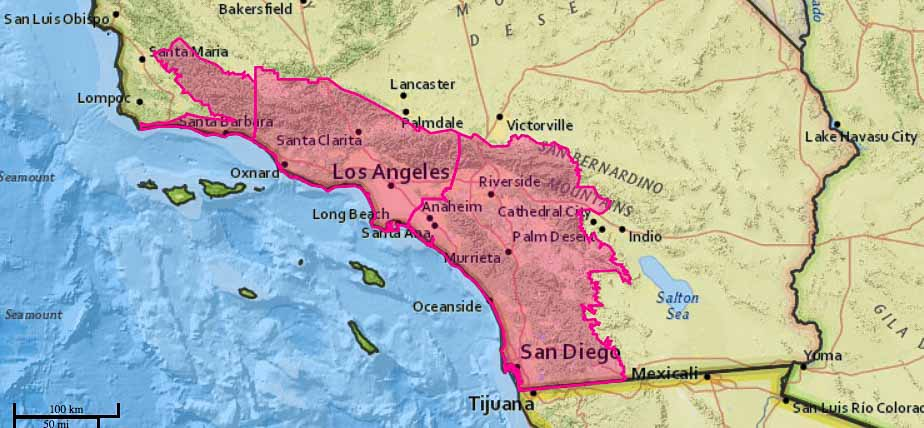 Map of the wildfires locations in California
