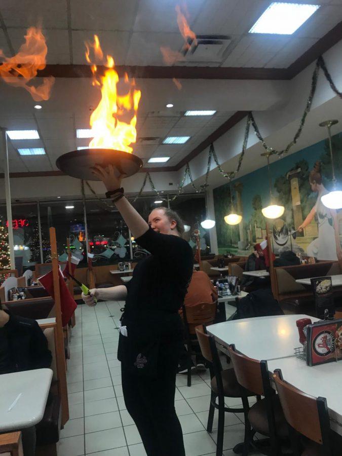 Moskus making sagonaki at work