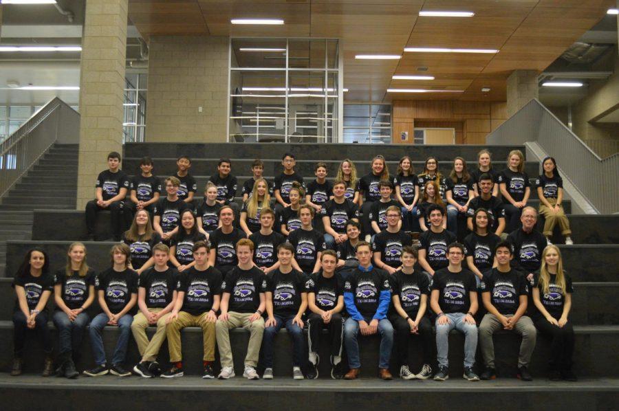 Bloomfield Hills High School FIRST robotics team gathered together