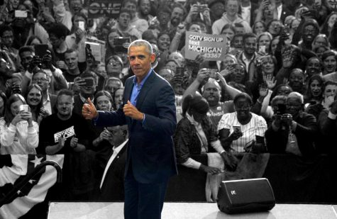 44th President of the United States Barack Obama gives a thumbs-up after his speech during the Michigan Get Out The Vote Rally by the Michigan Democratic Party on Friday, October 26, 2018 at Cass Tech High School in Detroit.
